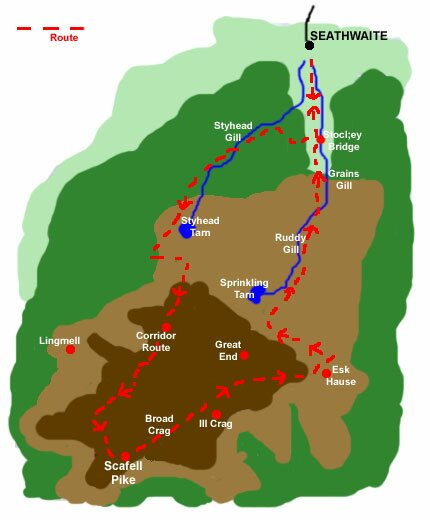 Scafell Pike Routes Map Scafell Pike Walk Borrowdale Lake District